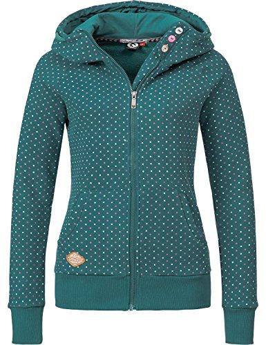 Ragwear Damen Jacke Sweatjacke Übergangsjacke Chelsea Zip (vegan hergestellt) Dots Pine Green Gr. L