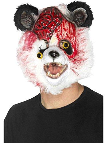 Smiffys Kostüm Zubehör Maske Zombie Panda Bär schwarz-weiß Halloween