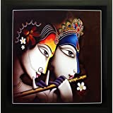 SAF Radha Krishna Krishna Painting || Krishna Painting || Krishna Poster || Krishna Wall Stickers || SAF Exclusive Framed Wall Art Paintings For Living Room And Bedroom. Frame Size (Wood, 30 Cm X 3 Cm X 30 Cm, Special Effect Textured) || Large Painting -