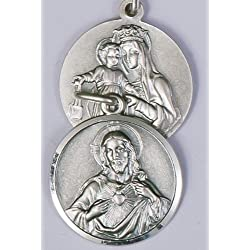 Scapulaire Médaille. Médaille d'argent Sterling. sacré Cœur de Jésus/Notre Dame du Mont Carmel