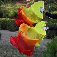 Danza Del Vientre Abanico De Seda Real Costillas De Bambú Rendimiento Hecho A Mano Entrenamiento Profesional Elástico Naranja Amarillo Vibrante 1.8 M Largo L + R