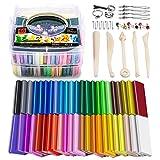 Polymer Ton Modelliermasse, 46 Stück Farben Knetmasse DIY Weich Handwerk Ton Set mit Modellierwerkzeugen und Zubehör in Aufbewahrungsbox, Kinder(46 Farben,1.5KG