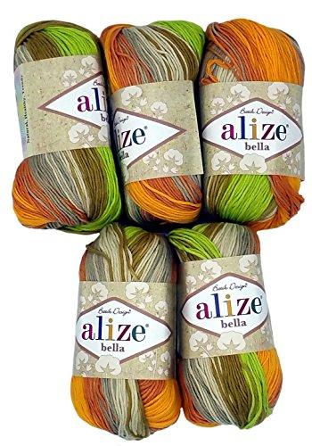 5 x 50 Gramm Baumwolle mehrfarbig mit Farbverlauf, 250 Gramm Wolle aus 100% Baumwolle, Strickwolle (terra orange grün beige 5559)