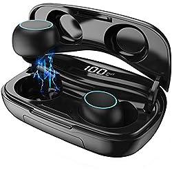 HETP Écouteur Bluetooth sans Fil Micro Oreillettes Bluetooth Étanche IPX7【LCD 100%-0】3500mAh Boîte de Charge Autonomie 120heure Réduction du Bruit CVC 8.0 Casque Stéréo Écouteur Sport pour iOS Android