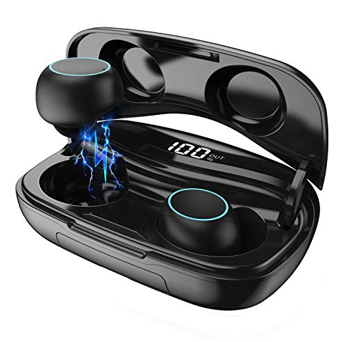 HETP Bluetooth Kopfhörer In Ear Kabellos Bluetooth Kopfhörer 3D Stereo Sound Ohrhörer mit Mikrofon, CVC 8.0 Noise Cancelling, Smart LCD Digitalanzeige, 120H Playtime, Bluetooth 5.0 Sport Kopfhörer - Bluetooth-sound-cancelling