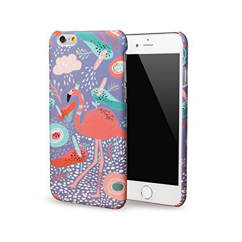 Schutzhülle für iPhone 6S / iPhone 6 [Dancing Flamingo] von Midsummer Night's Dream Serie, Exklusive/Umweltfreundliche glänzende Beschichtung mit geprägtem Touch-Feeling Regen Iphone