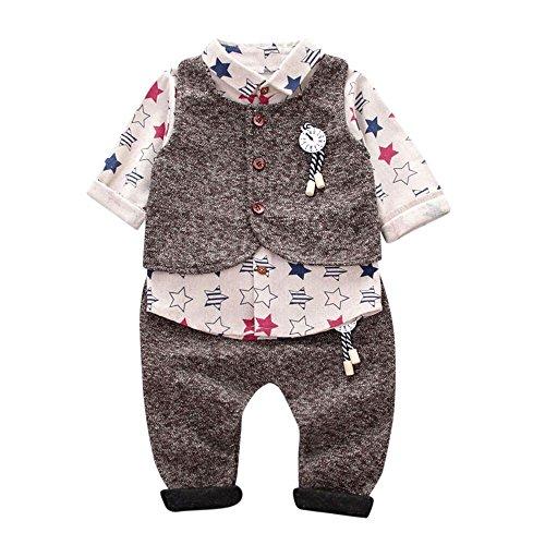 (Jungen Baby Strampler Kleidung, ✨LANSKIRT Karierter | Bogen | Stern drucken | Plaid drucken | Gentleman Tops + Hosen Gamaschen Mode Outfits Kleider Set Kinder Bekleidungssets)
