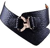 Damen Frauen PU Leder Gürtel Mode Strukturierte Einfarbig Breite elastische Gürtel Tailleband (schwarz)