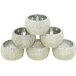 Set of 6 - Silver Indian Handmade Napkin Ring for Cloth Napkin - Beaded Napkin Ring Wedding - Dia 2.5 Inches