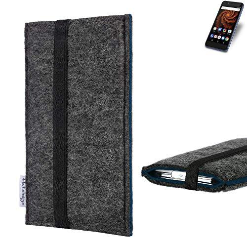 flat.design Handyhülle Lagoa für Allview X4 Soul Mini S | Farbe: anthrazit/blau | Smartphone-Tasche aus Filz | Handy Schutzhülle| Handytasche Made in Germany