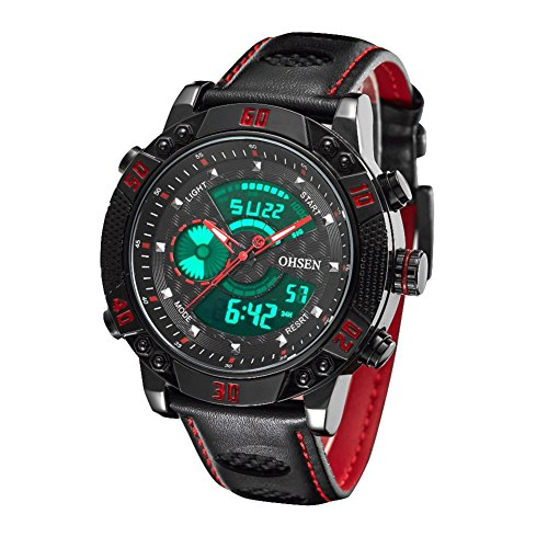 ohsen men's waterproof sport watch analog digital dual display with alarm stopwatch el backlight