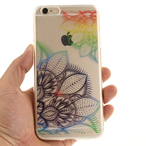 iPhone 6S Plus Hülle, iPhone 6 Plus Hülle, Gift_Source [ Blaue Traumblume ] Hülle Case Transparent Weiche Silikon Schutzhülle Handyhülle Schutzhülle Durchsichtig TPU Crystal Clear Case Backcover Bumpe E1-Bunte Traumblume