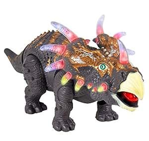 Elettronici A Piedi Dinosaur Triceratops - Dinosauro mobile che ruggisce e si cammina, provvisto di luci -TG636 - creato da ThinkGizmos (marchio protetto)