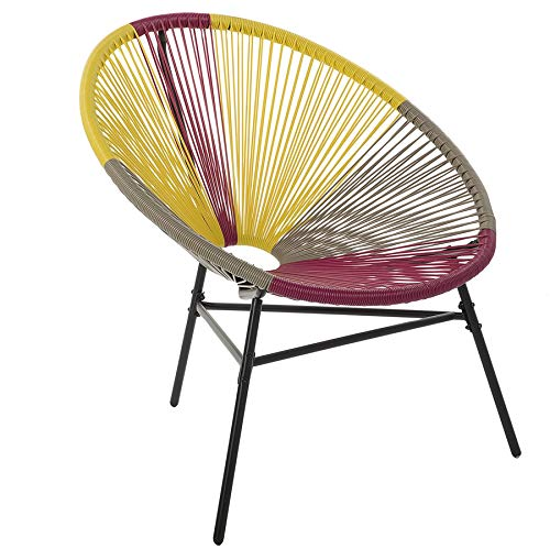 Beliani Gartenstuhl mexikanischer Stuhl rosa gelb beige Rattanstuhl Acapulco