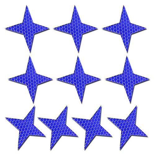 Maiqiken 10pcs nastro adesivo riflettente blu universale auto moto bicicletta stickers 60 x 60mm