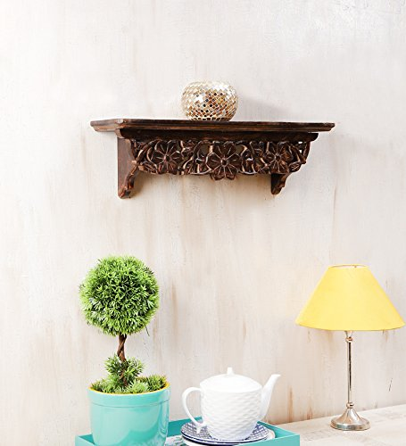 Onlineshoppee Solid Wood Hand Carved Wall Shelves