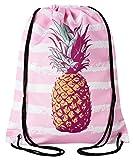 Aminata Kids - Kinder-Turnbeutel für Mädchen und Damen mit Pool Obst Sprüche Ananas Sport-Tasche-n Gym-Bag Sport-Beutel-Tasche hell-rosa Weiss Streifen
