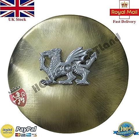Men's Kilt Fly Plaid Brooch Welsh Dragon Brushed Antique Finish 3