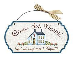 Idea Regalo - Targa sagomata Casa dei nonni..nipoti casa idea regalo made in italy Fuoriporta
