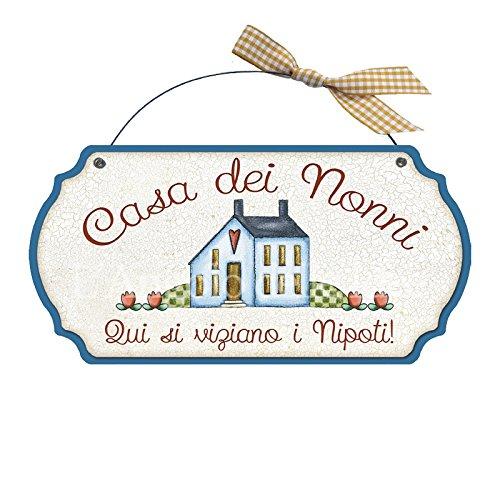 Targa sagomata Casa dei nonni..nipoti casa idea regalo made in italy Fuoriport