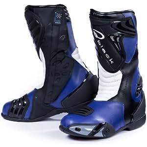 Black Zero Motorcycle Boots 41 Blue (UK 7)