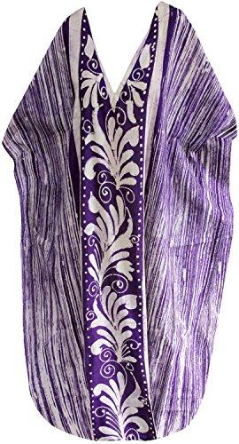 La Leela lose Abdeckung bis maxi langen Strandabnutzungs Puffärmeln Kleid Kaftan aus Baumwolle mit V-Ausschnitt Kleid Lila 5