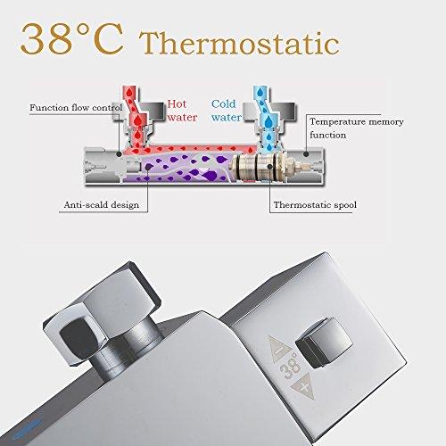 Homelody – Duscharmatur mit Thermostatfunktion und LED-Regendusche, Chrom - 3