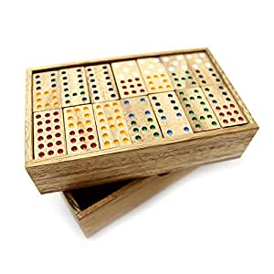MindSapling Dominoes Wooden Game Double-Nine