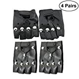 Best Halloween Costume Teen - LUOEM 4 Pairs Rivets Half Finger Gloves Punk Review