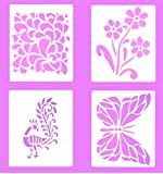 #6: Vardhman Laser Cutted Design Stencils , Pack Of 4, Use On Cloth, Paper, Pots, Wall, Decorations Etc