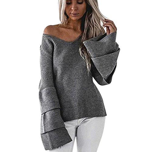 DOLDOA Frauen Langarm Strick Pullover Lose Pullover Pullover Tops Strickwaren (EU:42, Grau) (Weißen, Den Italienischen Strick-stoff)