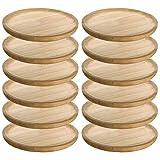 MGE - Set di 12 Piatti in Legno - Piatti per Servire Polpo, Pizza, Carne, Pollo - Ø 12 cm
