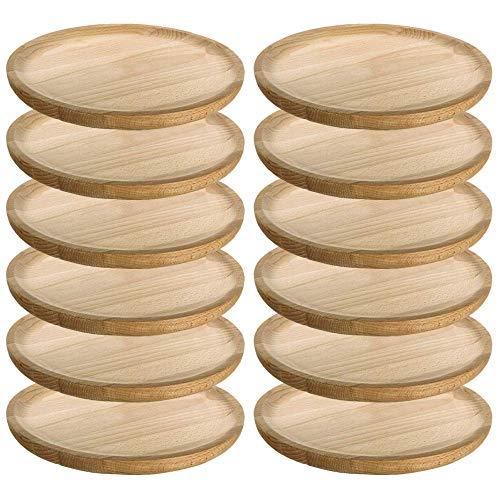 MGE - Holzteller Rund - Holzplatte - Fleischteller - Pizzateller - Schneidebrett - Kiefer - Set von 12 - Ø 14 cm - Made in Spain