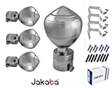 #9: JAKABA Premium Quality Silver Finish Stainless Steel and Alloy Curtain Finials with Heavy Supports - PACK of 8 Pcs. (Finials : 4 Pcs + Supports : 4 Pcs) : Curtain Brackets Set / Holders for Window / Door - JKB100402