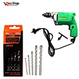 #8: Professional Power Tool - Electric Drill Machine 10MM - 300W, 2600 Rpm, 220V- 50Hz & Masonry Drill Bit Set - 5 Pcs for Concrete and Brick Wall Drilling