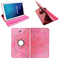 Samsung Galaxy Tab E 9.6 (T560 / T561), Leather Wallet flip cover,back stand cover,Full Body protection tablet cover by Kamal StarŽ (Rose Pink Diamond)