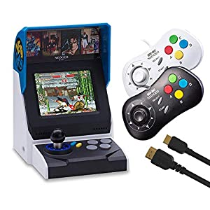 NEOGEO Mini Console: International Edition plus 2 x NEOGEO Mini Controllers and HDMI Cable Bundle (Includes 40 Games)