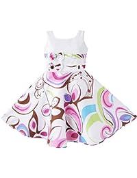 Mädchen Kleid Lila Paisley Blume Drucken Doppelklicken Bogen Binden
