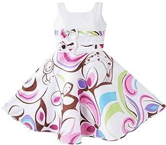 Sunny Fashion Robe Fille Pourpre Motif cachemire Fleur Imprimer Double Arc Attacher 11-12 ans