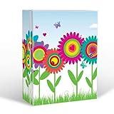banjado Medizinschrank groß abschließbar | Arzneischrank 35x46x15cm | Medikamentenschrank aus Metall weiß mit Motiv Bunte Blumen