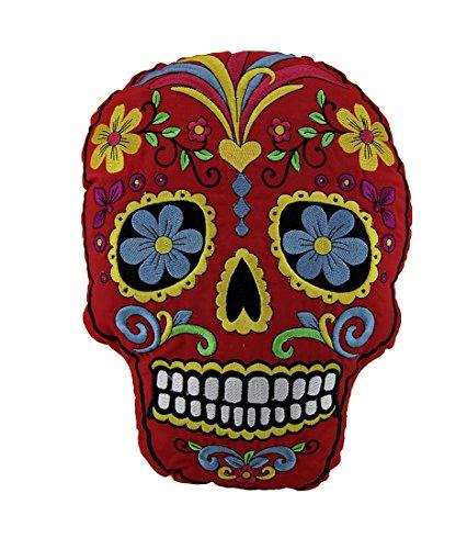 Rosso e giallo giorno dei morti ricamato Sugar Skull Accent