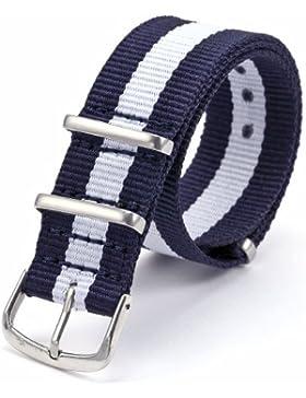 AMPM24wb2017-cinturino aus Nylon blau & weiß Schnalle für Uhr Armbanduhr Unisex, 20mm, Ersatz