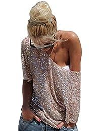 Blansdi Damen Mädchen Frauen Sommer Sexy Stilvoll weg von der Schulter  Pailletten Lose Blusen Tuniken Top T… 6c7914b9a6