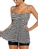 Avidlove Tankini Set Two Piece Damen Mit Höschen Monokini Neckholder Badeanzug Swimwear Plus Size Strandbekleidung Large,  Stil 1:Schwarz