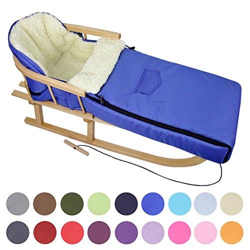BAMBINIWELT Kombi-Angebot Holz-Schlitten mit Rückenlehne & Zugseil + universaler Winterfußsack (108cm), auch geeignet für Babyschale, Kinderwagen, Buggy, aus Wolle Uni (blau)