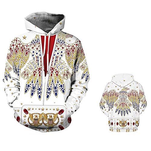 Unisex Herren 3D Print Lässige Pullover Jacke Langarm Pullover Klassische Musik Hoodie Pullover Elvis Presley Fans Kapuzenpulli Sweatshirt Kapuzenjacke,Elvis2,XXXXL -