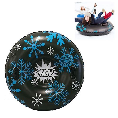 FLHLH Aufblasbare Ski Ring, Verdickte Winter Outdoor Sports Kreis PVC Verschleißfeste Durable Schnee-Schlitten Skifahren Zubehör Für Kinder Erwachsene,Schwarz