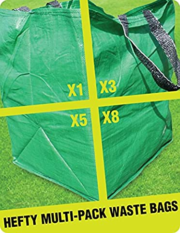 3 X GARDEN WASTE CUBE BAGS - Best Multipurpose HEFTY Reusable Sack Storage Bag For The Disposal Of Leaves, Weeds & Grass Cuttings - (136 Litre Capacity) (3)