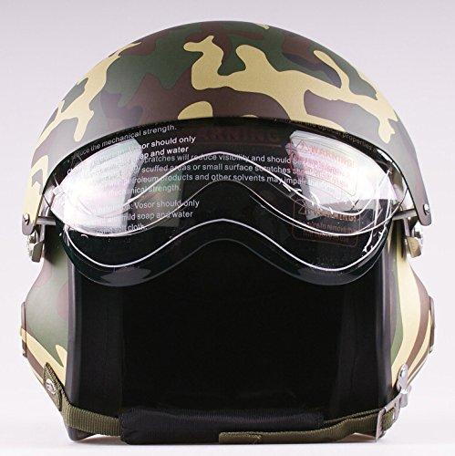 Casco jet 3/4 a doppia visiera semi-integrale, per moto e scooter, colore camouflage