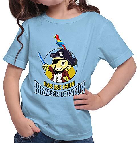 HARIZ  Mädchen T-Shirt Das Ist Mein Piraten Kostüm Karneval Verkleidung Inkl. Geschenk Karte Himmel Blau 152/12-13 - Himmel Kostüm Pirat